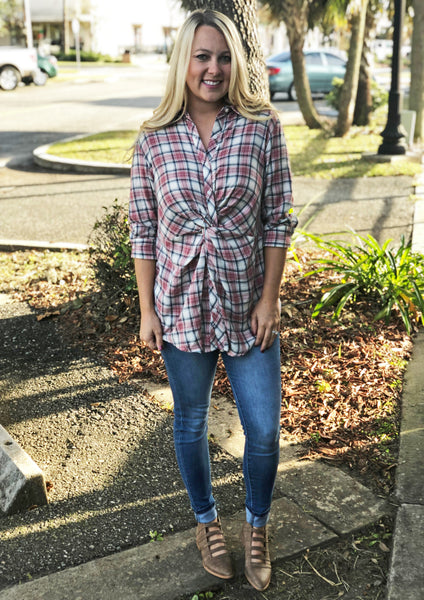 Plaid Knot Top (Red)