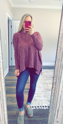 Burgundy Twill Top