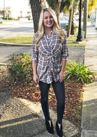 Plaid Knot Top (Taupe)