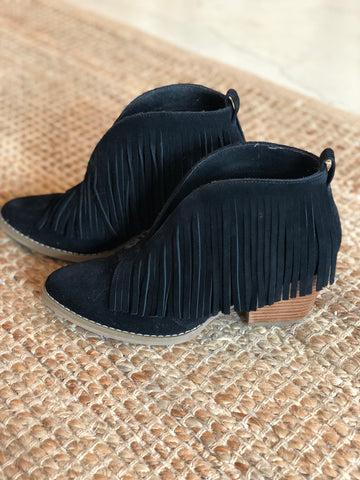 Fall Fringe Booties (Black)