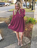 Striped Babydoll Dress (Burgundy)
