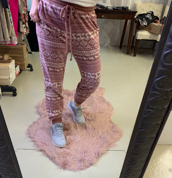Soft Sweatpants (Printed Burgundy)