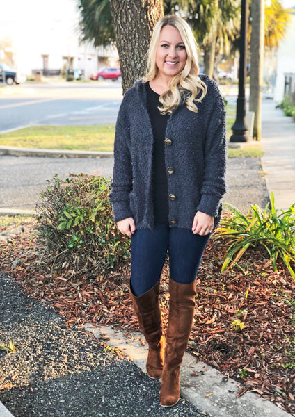 Button Down Cardi (Charcoal)