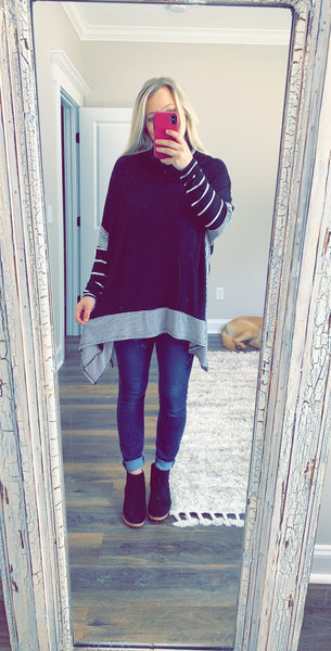 Striped Black Poncho
