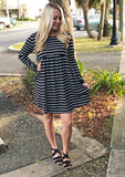 Striped Babydoll Dress (Black)