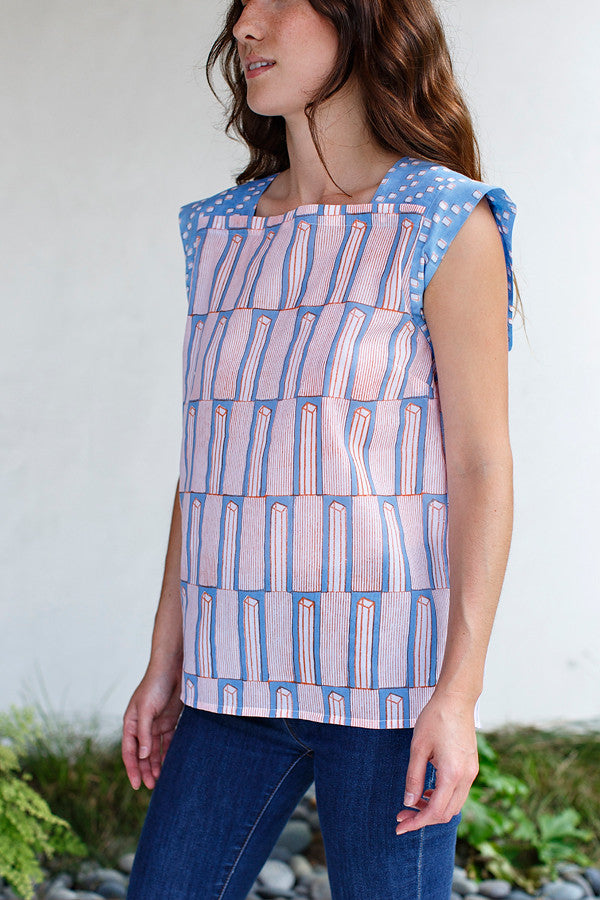Anya Top / Orange Blue Checkers