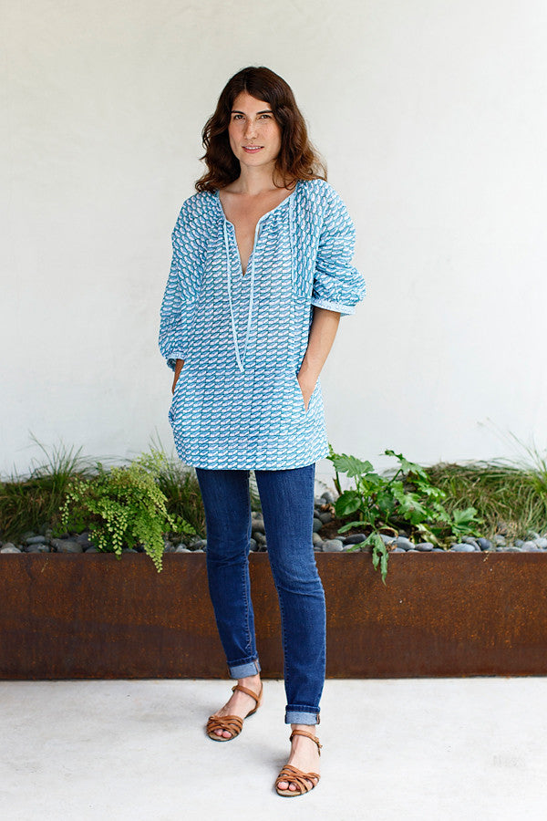 Ella Smock Blouse / Blue Green Check