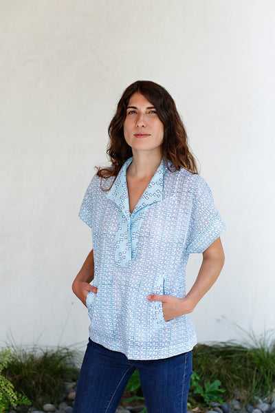 Katie Top / Blue Grid