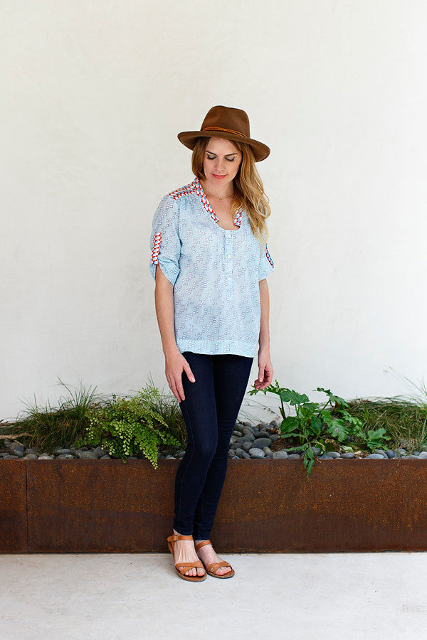 Madelon Top / Sky Blue Dots