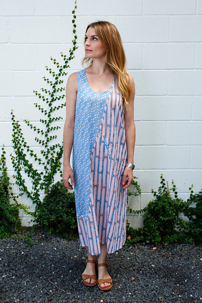 Monika Dress / Egyptian Blue Dot + Blue Orange Columns