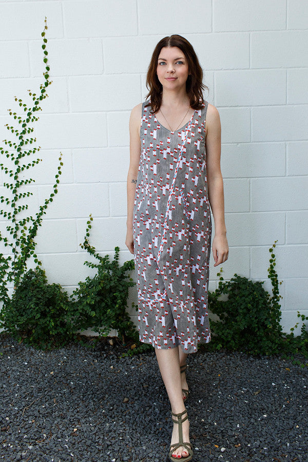 Monika Dress / Grey Red Column Print
