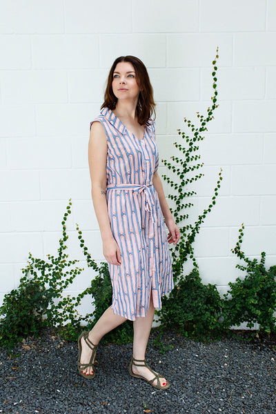Rebecca Dress / Orange Blue Columns
