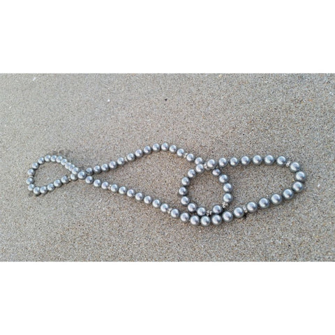 Pearl Necklace in grey with Rhondels extra long.