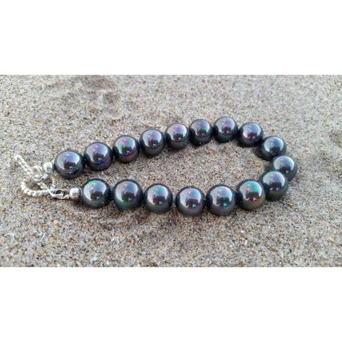 South Sea Shell Pearl Bracelet in dark grey