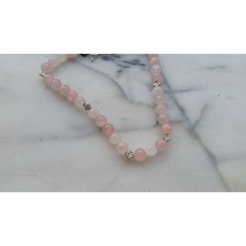 Rose Quartz Necklace with Tibetan Silver