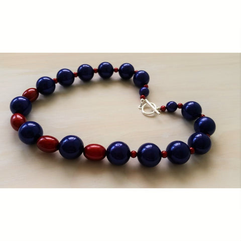 Blue and Red Miracle Bead Necklace