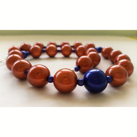 Cinnamon and Blue Miracle Bead Necklace