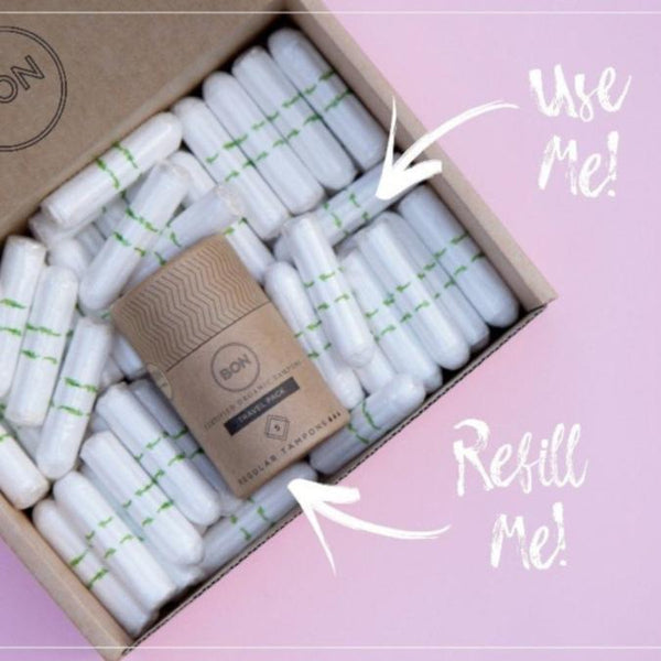 BON Refill Boxes - Approx. 60 Certified Organic Tampons + Travel Pack - Regular/Light Absorbency
