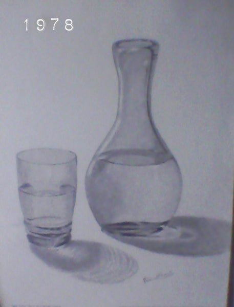 My charcoal drawing, still life, Case, Poster