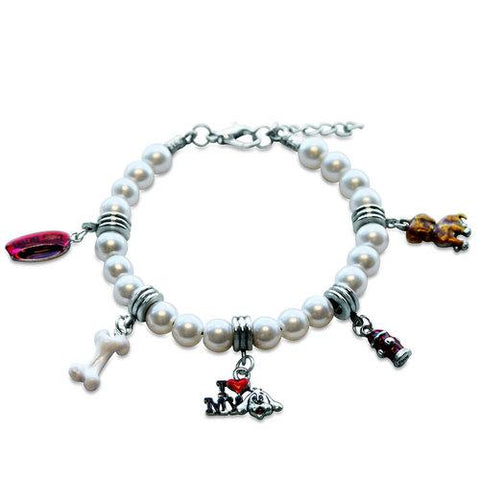 Dog Lover Charm Bracelet in Silver - Watchesfixx Charm bracelets
