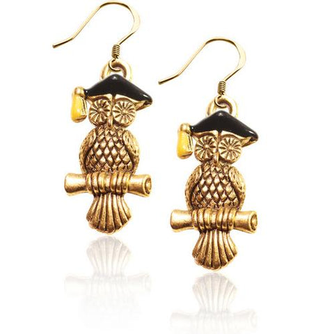 Owl Charm Earrings in Gold - Watchesfixx Charm earrings