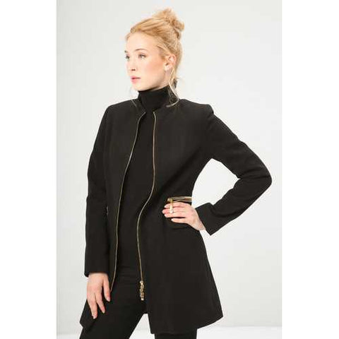 Gender: Women<br />Color: Black<br />women's coat<br />- composition:  63% pl, 30% vi, 7% ea<br />- zip fastening, 2 flap pockets, decorative zippers, lined<br />- dry clean<br />- model wears a size:  42<br />- model height:  175 cm - Watchesfixx Coats