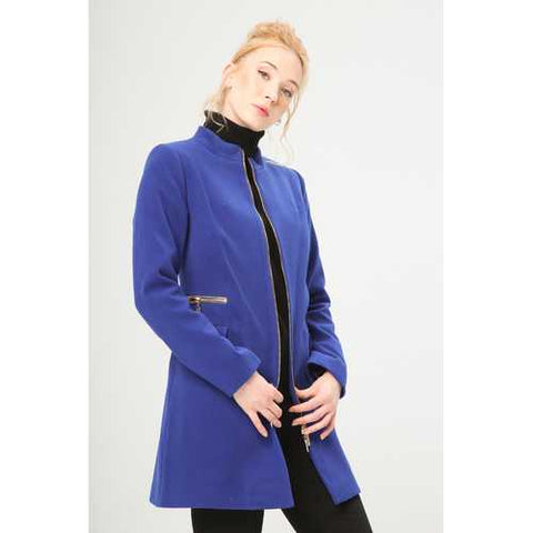 Gender: Women<br />Color: Blue<br />women's coat<br />- composition:  63% pl, 30% vi, 7% ea<br />- zip fastening, 2 flap pockets, decorative zippers, lined<br />- dry clean<br />- model wears a size:  42<br />- model height:  175 cm - Watchesfixx Coats