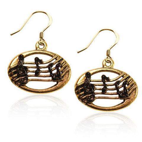 Disc with Musical Notes Charm Earrings in Gold - Watchesfixx Charm earrings