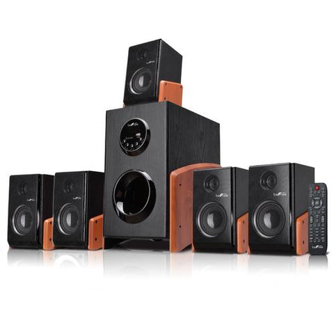 beFree Sound 5.1 Channel Surround Sound Bluetooth Speaker System -Wood - Watchesfixx Home Stereo Systems