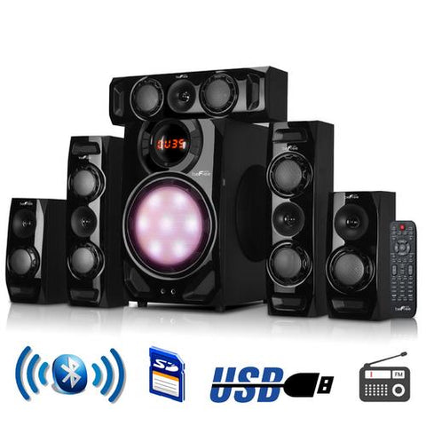 beFree Sound 5.1 Channel Surround Sound Bluetooth Speaker System in Black - Watchesfixx Home Stereo Systems