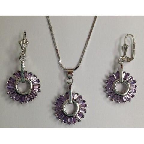 Lavender Baguette CZ Necklace and Earring Set Rhodium Plated in Gift Box - Watchesfixx Necklace and earring sets