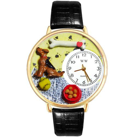 Airedale Terrier Watch in Gold (Large) - Watchesfixx Ladies watches