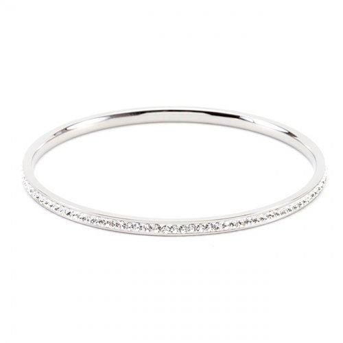 Simple Silvertone Crystal Bangle (pack of 1 ea) - Watchesfixx Bracelets
