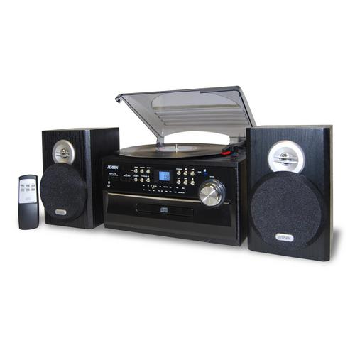 Jensen 3-Speed Stereo Turntable with CD System, Cassette and AM/FM Stereo Radio - Watchesfixx Home Stereo Systems