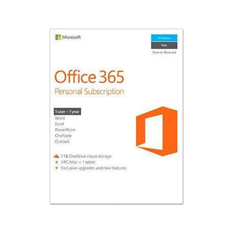 Microsoft  Office 365 Personal Mac/Win English Subscription P2 1 License NA Only Medialess 1 Year.  1 Install - Watchesfixx Home & Business Apps
