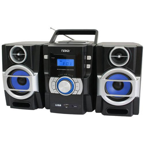 The Naxa NPB-429 is a portable MP3/CD player with twin detachable speakers, remote control and USB input. It features a bass boost system.<br><br>Top loading MP3/CD player<br>PLL FM Radio<br>Built-in USB<br>Twin detachable speakers<br>LCD display - Watchesfixx Home Stereo Systems