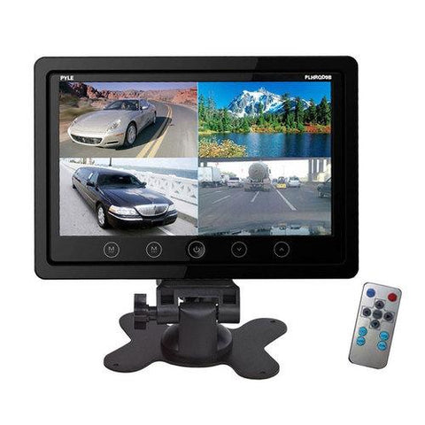 Pyle 9'' Quad TFT/LCD Video Monitor w/Headrest Shroud and BNC & RCA Connectors - Watchesfixx Car Video