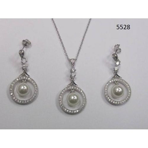 CZ Necklace and Earring Set with Pearl Rhodium Plated in Gift Box - Watchesfixx Necklace and earring sets