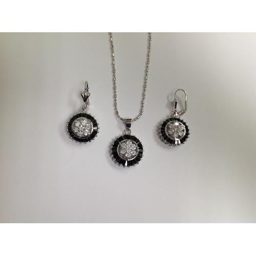 CZ Necklace and Earring Set Rhodium Plated in Gift Box - Watchesfixx Necklace and earring sets