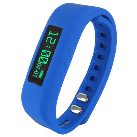 "Supersonic 0.91"" Fitness Wristband With Bluetooth Pedometer, Calorie Counter and More-Blue - Watchesfixx Watches"