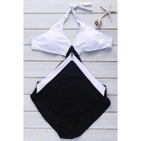 Color Block Backless Women's One-Piece Swimwear - White And Black Xl