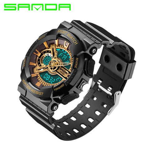 2016 New Brand Luxury Gold Black Men Sports Watches Analog quartz Led digital display Watch Military watches 30ATM relogio - Watchesfixx Digital Wristwatches