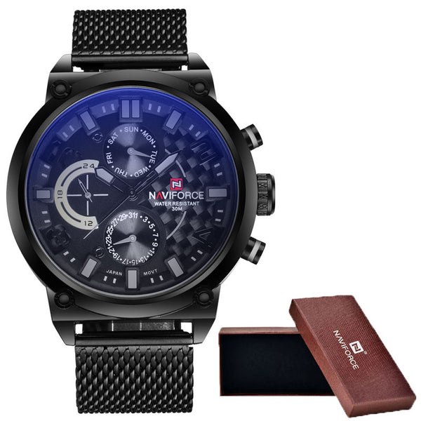 2016 Men's NAVIFORCE Luxury Brand Analog Quartz Watch Man 3ATM Waterproof Fashion Casual Sport Watches Men full steel Wristwatch - Watchesfixx Watches