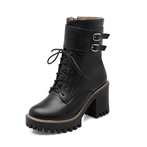 Fashion boots 2017 autumn winter buckle ladies shoes thick high heels round toe platform lace up ankle boots for woman - Watchesfixx