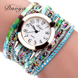 Duoya Quartz Watch Women Flower Wristwatch Steel Luxury Bracelet Watch Multilayer Leather - Watchesfixx Quartz Wristwatches