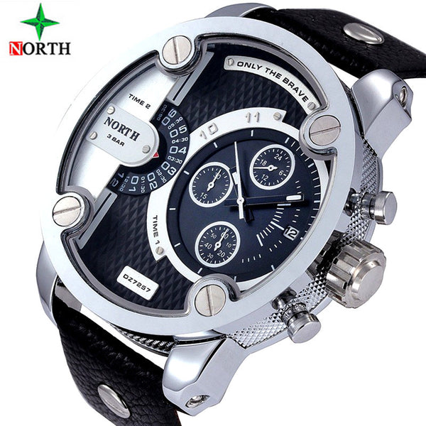 2016 luxury brand north Watches Men Sports leather 30m waterproof Quartz Pulse Male Female Watch relogio masculino