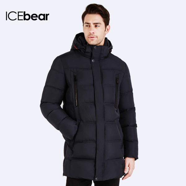 ICEbear  Top Quality Warm Men's Bio Down Jacket  Waterproof  Casual Outerwear Thick Medium Long Coat Men Parka 16M899D