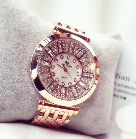 Fashion Women Watches Rose Gold luxury brand  geneva Diamond  Watches Lady Dress Watches sport - Watchesfixx Quartz Wristwatches