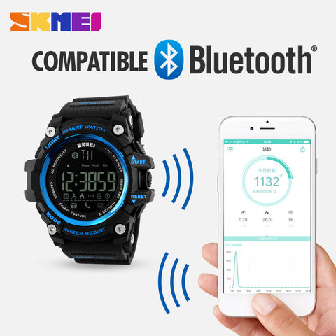 SKMEI Smart Bluetooth Sports Watch Fitness Tracker Calorie Pedometer Waterproof Men's Watches LED Digital Smart Wrist watch - Watchesfixx Digital Wristwatches
