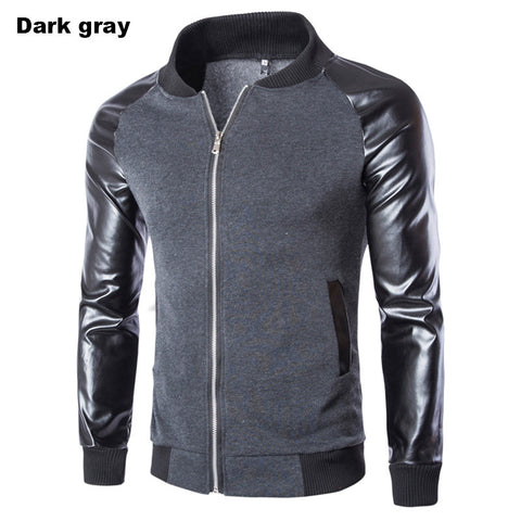 Winter Spring Casual Stand Collar Men's jacket  Spell leather metal zipper design  High Quality Men Jacket Coat